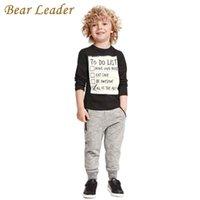 Медведь лидер мальчик одежда 2018 новая зима и осень темно-серый с длинным рукавом футболка + повседневная длинные брюки 2шт костюм детская одежда