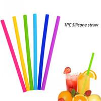 Pailles de silicone colorées pour tasses de qualité alimentaire 25cm silicone pailles pliées droites pour bar pailles à la maison