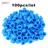 100 قطع متوسطة الحجم الوشم الحبر الكؤوس قبعات واضح الأزرق البلاستيك الصباغ حامل ل إبرة الوشم كيت مجموعة التموين