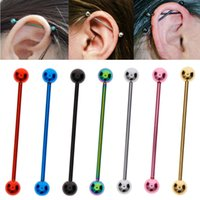 Punk Stainless Steel Ear Nail Bone Long Barbell Earring Pier...
