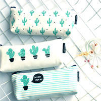 2018 Cactus Pencil Case Canvas School Supplies Stationery 3 ...