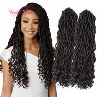 소프트 인조 loces 18inch dreadlocks braids 합성 머리 확장 dreads 24strands / pcs faux locs 크로 셰 뜨개질 합성 dreads braiding hair marly