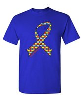 T- Shirt 2017 AUTISM AWARENESS RIBBON - Mens Cotton t shirt s...
