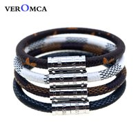 VEROMCA Leather Bracelet Set Wholesale Stainless Steel Men B...