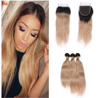 Honey Blonde Ombre 1B 27 Hair Extensions With Lace Closure B...