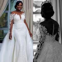 Новый дизайн кружева свадебное платье с длинными рукавами иллюзия Русалка съемная юбка свадебное платье высокое качество Vestido де Noiva