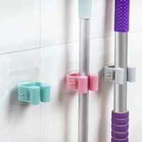 Creative Traceless Bathroom Mop Hooks Sticky Mop Rack Tracel...