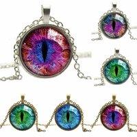 Vintage farbigen Drachen Cat Eye Glas Cabochon überzog lange Kette Anhänger Halskette schönes Geschenk