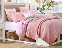 American Cotton Stickerei Pink Floral Steppdecke Quilting Quilts Decke BedCover 230x250cm 3pcsSets BedSheet Matratzenbezug