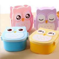 4 Colors Cartoon Owl Plastic Lunch boxs Bento Lunch Boxs Foo...