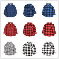 Fashion Baby Boys Shirts Cotton Children Plaid Tee Shirt Che...