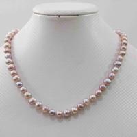 """Hand verknotet reizend naturweiß, rosa, lila Farbe 7-8mm Süßwasser Perlenkette 18"""" Modeschmuck 2pc / lot"""