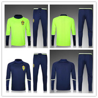 Sweden tracksuit Soccer Jacket with Pants blue and light gre...