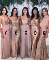 2018 Gelinlik Modelleri Mix-Maçlık Allık Pembe Şifon Gül Altın Payetli Kumaş Kat Uzunluk Karışımı Stilleri Ülke Parti Abiye