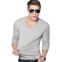 Covrlge New Men Fashion Solid T - Shirt Spring Long Sleeve Sl...