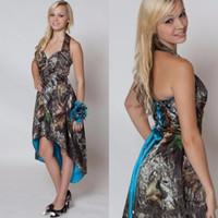 Blau Camo Brautjungfernkleider 2020 kurze vordere lange zurück Hochzeit Kleid Camouflage Halter Hallo-Lo Maid Honor Bridesmaids Gown BO8268