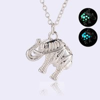 2018 Elephant Heart Blue night Luminous Bead Pendant Necklace Chain Collar choker necklace women Statement Jewelry Wholesale free shipping