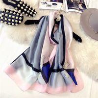 O novo super-bela impressão 100 amarrar lenço de seda das mulheres protetor solar estilo popular gravata borboleta lenço de seda xale toalha de praia