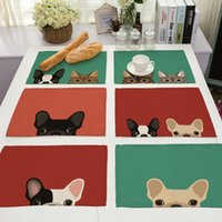 Cute Dog Table Cloth Placemat For Western Food Rectangle Cot...