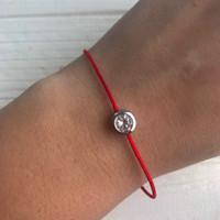 Braccialetto rosso della stringa di significato con i braccialetti rossi fortunati della discussione del braccialetto della corda dell'argento sterlina di zircon per i monili delle donne