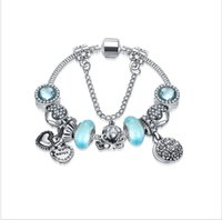 Fashion 925 Sterling Silver Murano Glass Crystal European Charm Beads Sister Sweet Mother Dangle Fits Pandora Charm Bracelets Necklace