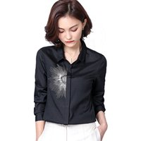 İndirim Sonbahar Yeni Moda Bayanlar Gömlek İnce Bayan Tops ve Bluzlar Şifon Gömlek Bluz İşlemeli OL Düğme Gömlek Üst Feminino