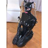 라텍스 고무 여자 놀이 정장 커버 라텍스 바디 수트 포니 테일 후드로 섹시한 고양이 복장 0.4mm 코르셋으로 고무 의상 복장
