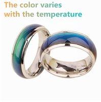 SOBUY Edelstahl Ring Farbwechsel Stimmung Ringe Gefühl / Emotion Temperatur Ring Breite 6mm Smart Schmuck Großverkauf der Fabrik
