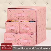 جميل داخلية تخزين مربع النسيج 3 طوابق 5 أدراج صناديق التخزين الجوارب البرازيلي صناديق التشطيب 34x31x37 سنتيمتر حجرة منظم cajas حقيبة