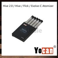 Yocan Hive 2.0 Zumo / Concentrado Atomizador 1.0ohm Atomizador de cera 1.8ohm Aceite Atomizador Para colmena Flick Evolve-C Kit 100% Original