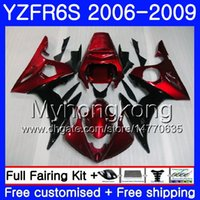 Corpo per YAMAHA YZF R6 S R 6S YZF600 YZFR6S 06 07 08 09 231HM.15 YZF-600 Rosso scuro nero caldo YZF R6S YZF-R6S 2006 2007 2009 Kit carenature 2009