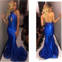 Royal Blue Mermai Платья для выпускного вечера dTaffeta Вечернее платье Sexy Backless Sweep Поезд без рукавов Длинные вечерние платья