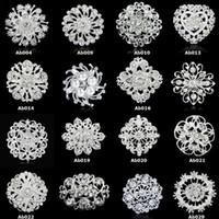 Broschen Pins Heißer Verkauf Mode Silber Kristall Strass Blume Bouquet Pin Brosche für Frauen Mädchen Party Geschenk Großhandel 0418 WH