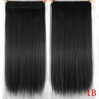 60 см длинные прямые женщины клип в наращивание волос черный коричневый высокая температура синтетические волосы кусок