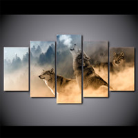 HD Printed 5 Piece Canvas Art Howling Wolf in Clouds Paintin...