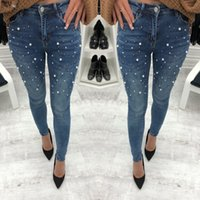 Pearl Beaded Casual Womens Skinny Jeans Denim Autumn High Waist Bleached Women Zipper Pants Women Casual Trousers