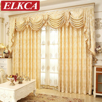 European Golden Royal Luxury Curtains For Bedroom Window Cur...