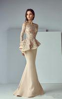 Champagne Mermaid Mother of the Bride Dresses 2019 Nuevo diseño por encargo Sweep Train Tulle Sheer Long Sleeve Lace Vestidos de noche formales M105