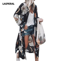 LASPERAL Women Flower Print Blouse Shirt Long Kimono Women F...