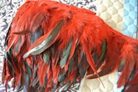 Spedizione gratuita 10 yards / lot gallo rosso Coque piuma taglio turchese coda di gallo piuma frangia per cucire rifornimento del partito
