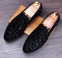 New Dandelion Spikes Flat Leather Shoes Rhinestone Fashion M...