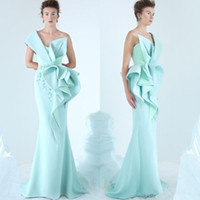 2019 Mint Green Mermaid Abendkleider One Shoulder Rüschen geraffte Prom Kleider Glamorous Dubai Fashion Satin bodenlangen Partykleid