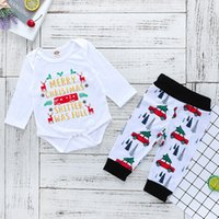 Free DHL Ins Christmas Baby boy outfits Letters Bodysuit Lon...