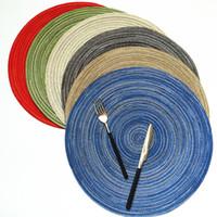 """Ev mat tasarım pamuk ipliği 7 """"14"""" masa yalıtım yuvarlak placemat masa mutfak aksesuarları dekoratif ev mat bardak"""