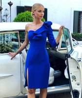 Sexy Royal Blue Cheap Cocktail Dresses 2019 Sheath One Shoul...