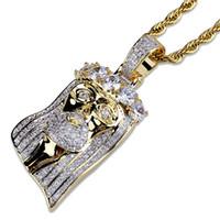 لون الذهب مطلي مثلج خارج يسوع الوجه قلادة قلادة مايكرو تمهيد كبير تشيكوسلوفاكيا ستون الهيب هوب قلادة للرجال النساء