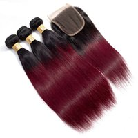 Brazilian Ombre 1B 99J Straight Virgin Hair 3 Bundles With L...