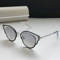 Frauen Dhelia / S Sonnenbrille Schwarz-Ruthenium-Rahmen Silber Spiegel 48mm Mode Sonnenbrillen mit Kasten