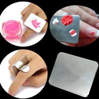 Fingerring Farbpalette Dish UV Gel Polish Malerei Farbe Pigment Mischplatte Anzeige Board Display Nail Art Werkzeug F1606
