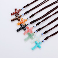 Roing Nature Opal Cross Pendant Necklace Christian Jewelry m...